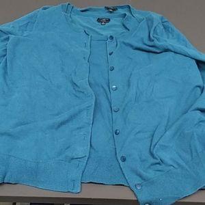 Talbots 1X Sweater Set Pima Cotton Dark Teal